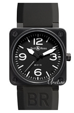 Bell & Ross Aviation Svart/Gummi 46x46 mm