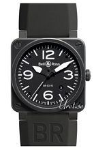 Bell & Ross Aviation Svart/Gummi 42x42 mm