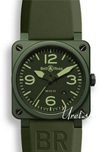 Bell & Ross Aviation Gr�n/Gummi 42x42 mm