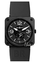 Bell & Ross Aviation Svart/Gummi 39x39 mm