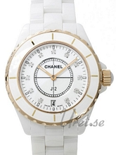 Chanel J12 Ceramic/Gold White Dial