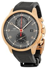 IWC Portuguese Black Dial Rose Gold Rubber Strap