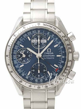 Omega Speedmaster Chronograph Day Date Blue Dial Bracelet