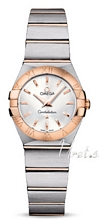 Omega Constellation Brushed 24 mm Rose Gold Steel Silver Dial