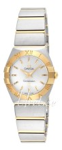 Omega Constellation Brushed 24 mm Yellow Gold Steel Silver Dial