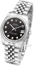 Rolex Datejust Black Dial Midsize Jubilee Bracelet Diamond