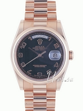 Rolex Day-Date Black Dial Pink Gold Diamond Oyster Bracelet