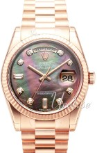 Rolex Day-Date Black MOP Diamond Dial Rose Gold Presient Bracele
