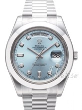 Rolex Day-Date II Blue Dial Platinum Diamond Index