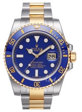 Rolex Submariner Gold/Steel Blue Dial Ceramic Bezel Diamond Inde