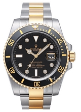 Rolex Submariner Gold/Steel Black Dial Ceramic Bezel Diamond Ind