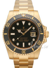 Rolex Submariner Yellow Gold Black Dial Ceramic Bezel Diamond In