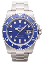 Rolex Submariner White Gold Blue Dial Ceramic Bezel Diamond Inde