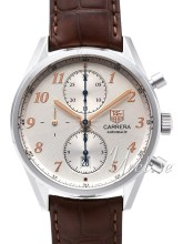 TAG Heuer Carrera Heritage Chronograph Silver Dial Leather